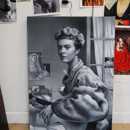 "#flowercrown #jeanseberg #jeannie series ""Jeannie Songie"", 38 x 27 in, oil on linen, 2013 #playingtheguitar #oversizedshirt #painting #art #stringsattached #breathless #frenchnewwave #godard"